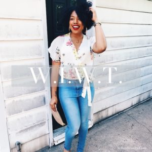 WIWT Floral Zara Printed Crossover Top Fashion Nova High Waisted Jeans by Jessica Lauren of NoRealJewelry.Com