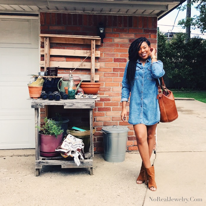 jean dress and boots