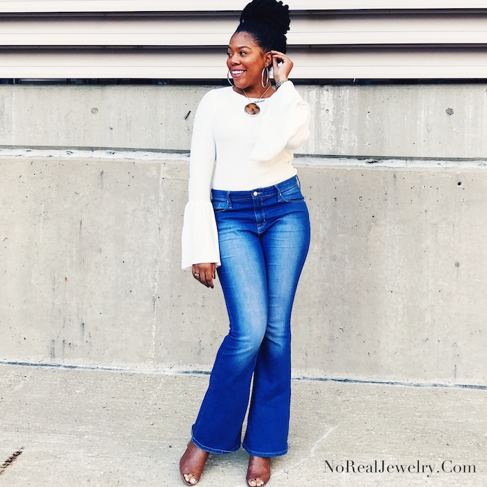 What I Wore Today Forever 21 Bell Sleeves Sweater Target Mossimo Flare Leg Jeans 1